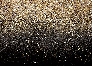 SJOLOON 10x8ft Glitter Backdrop Vinyl Photography Backdrop Vintage Astract Black and Gold Background for Family Birthday Party Newborn Studio Props 11547