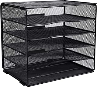 EasyPAG Desktop 5 Tier A4 Mesh in Tray Office Desk Tidy File Holder Magazine Organiser Paper Storage Rack,Black