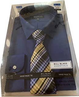 Bill Blass Mens Hand Made Tie Button Up Dress Shirt Blue