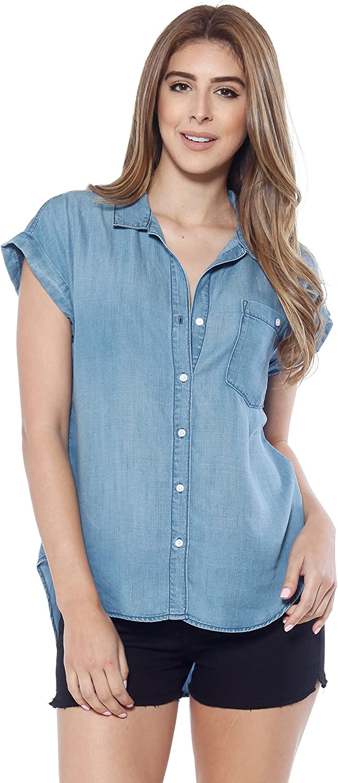 Alexander + David A+D Womens Tencel Denim Shirt Top, Button Up Collar W a HiLow Hem