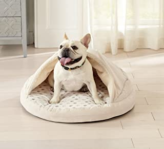 Great Bay Home Premium Orthopedic Velvet Ultra Plush Cuddle Cave Dog Bed and Memory Foam Pet Mat. Good for Small Dogs and Cats. Pampered Pup
