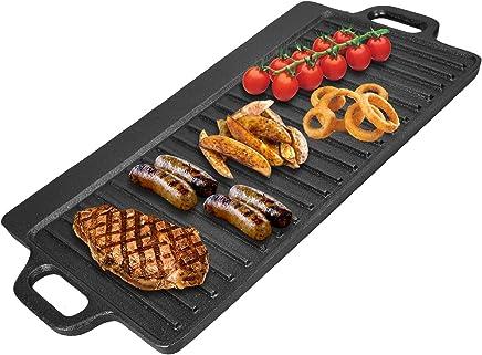 可逆转铸铁格斗板 - 不粘涂层 - 适用于感应、燃气和电炉 - 集成手柄和油滴托盘