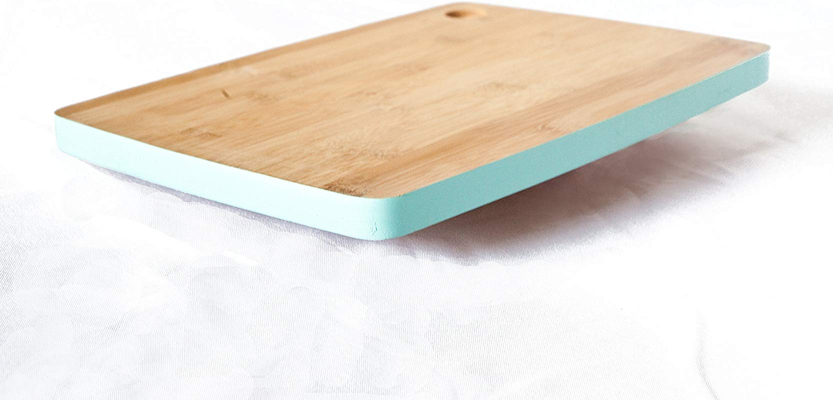 Natural Bamboo Wood Cutting Board With Teal Border Brings Simple Elegance To Your Kitchen Small Medium Size Cut Out Handle For Easy Space Saving Storage
