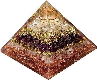 Quarzo rosa, cristallo di quarzo, piramide di orgonite di ametista, piramide di energia orgonica per kit di meditazione cr...