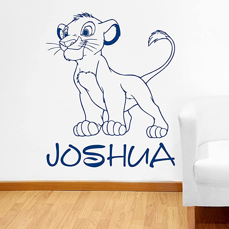 Wall Decals Custom Name Simba Wall Decal Personalized Sticker Lion King Art Disney Decorations For Home Teen Kids Boys Room Bedroom Nursery Decor Made In USA