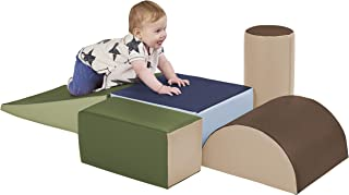 ECR4Kids ELR-12683F-ET SoftZone Climb and Crawl Activity Play Set, Lightweight Foam Shapes for Climbing, Crawling and Sliding, Safe Foam Playset for Toddlers and Preschoolers, 5-Piece Set, Earthtone