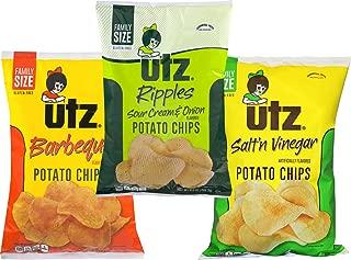 Utz Quality Foods 9.5 oz. Family Size Variety 3- Pack Potato Chips (BBQ, Sour Cream & Onion, Salt & Vinegar)