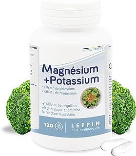 Leppin–Magnesio + Potasio en 120cápsulas–Citratos minerales–Alta biodisponibilidad–Complemento alimenticio natural.