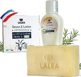 Savon lait de chevre BIO + Lotion au lait de chevre BIO frais, Fabrication Française, Artisanal, Nettoie et Hydrate, Anti-...