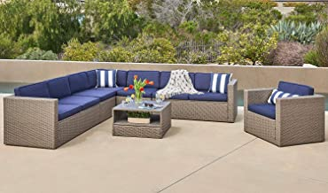 SOLAURA 7-Piece Outdoor Sectional Furniture Gray Wicker Conversation Sofa Set with Navy Blue Cushion & Glass Coffee Table