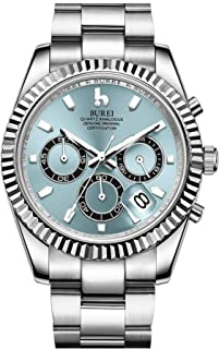 Men's Chronograph Watch Analog Dial with Date Window Sapphire Crystal Lens Stainless Steel Case and Band