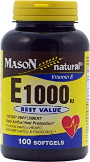 MASON NATURAL, Vitamin E1000 IU Softgels - 100 Each