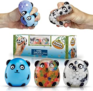 YoYa Toys Beadeez Panda Stress Relief Balls (Set of 3) - Anxiety Relief Squeezing Squishy Balls for Kids and Adults | Funny Fidget Sensory Toy Filled with Water Beads - ADHD Hand Finger Exerciser