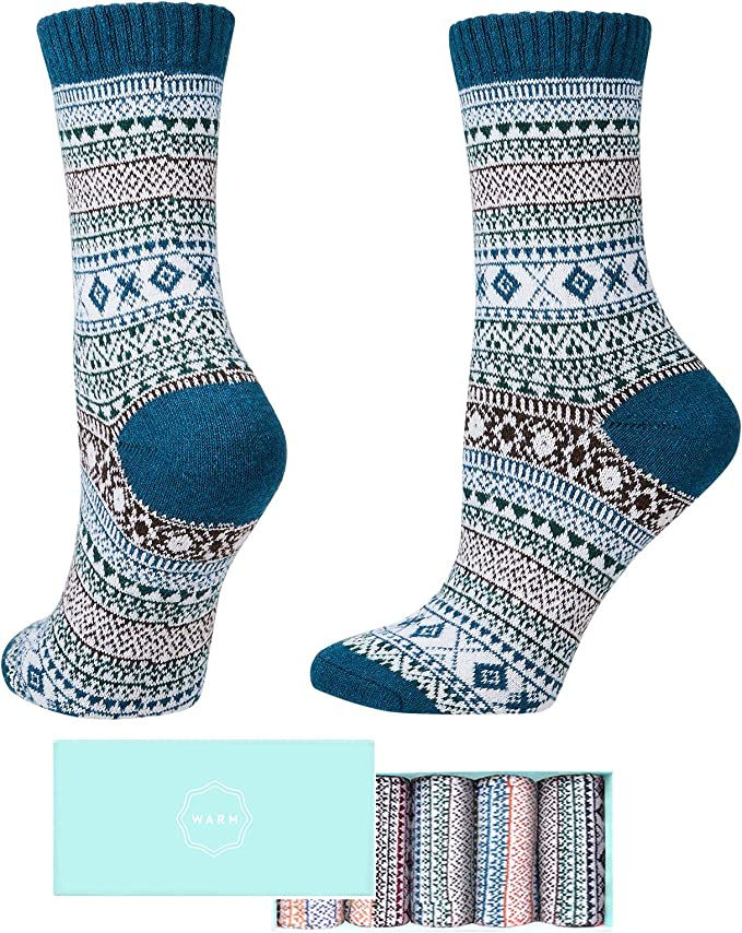 SISOSOCK Women Winter Socks 5 Pairs Thick Knit Wool Soft Warm Casual Socks Vintage Style Colorful Socks for Women Free Size