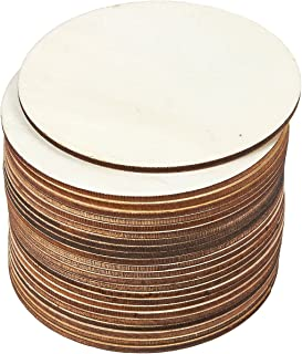 Juvale 24-Pack Unfinished 4-Inch Wood Circle Cutouts for Coasters, DIY Crafts, 0.1 inch Thick