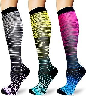 Iseasoo Calcetines de compresión para hombres y mujeres, 2/4 pares, mejor ajuste atlético graduado para correr, viajes de ...