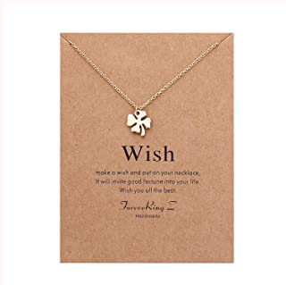 Message Card Love Four Leaf Clover Necklace Believe Yourself Pendant Necklace Woman Jewelry