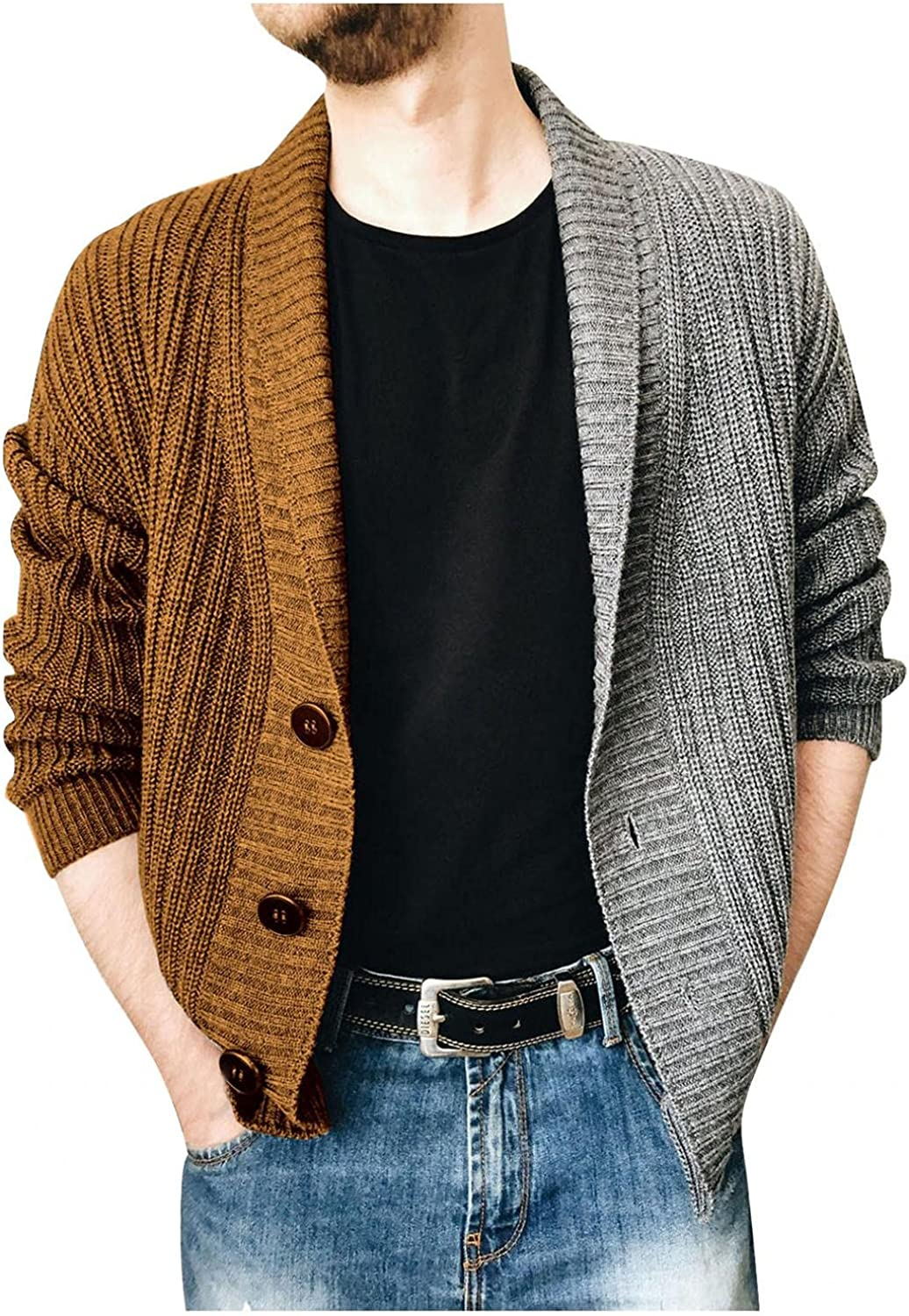 XUNFUN Cardigan Sweaters for Men Fashion Shawl Collar Cable Knitted Casual Long Sleeve Button Down Color Stiching Knitwear