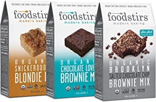 Foodstirs Snickerdoodle Blondie, Chocolate Lovers Brownie, and Brooklyn Brownie Mix, 44.8 Ounce, 3 count Variety Pack