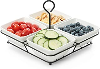 4 Piece Condiment Server Set, Tabletop Serving Trays for Parties, Serving Bowls for Parties with Rack Holder, Ceramic Dip Bowls for Snacks, Relish Tray for Entertaining