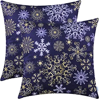 CaliTime Pack of 2 Cozy Fleece Throw Pillow Cases Covers for Couch Bed Sofa Christmas Snowflakes Both Sides 18 X 18 Inches Navy Blue