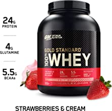 Optimum Nutrition Gold Standard 100% Whey Protein Powder, Strawberry & Cream, 5 Pound (Packaging May Vary)