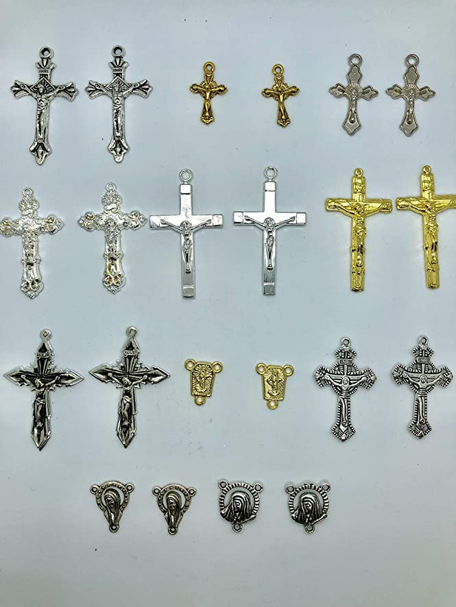 100 Grams of Mix Religious Charms, Crosses, Crusifix, Antique Gold/Silver -Rosary, Neclace, Bracelet Jewelry Making Findings