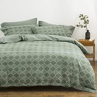 OREISE Duvet Cover Set King Size Washed Cotton Yarn, Jacquard Green and White Lantern Pattern 3Piece Bedding Set
