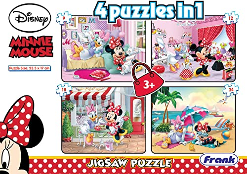 Frank Disney Minnie Mouse 4 in 1 Puzzle - A Set of 4 Jigsaw Puzzles for 3 Year Old Kids and Above