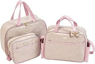 Kit Bolsas Maternidade Clássica, Tutti Baby, Bege/ Rosa