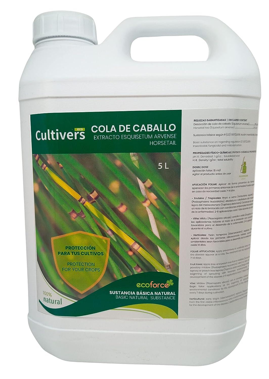 CULTIVERS Cola de caballo. Bioestimulante Natural Preventivo y Curativo. Acción Insecticida Fungicida y Acaricida. Sustancia Básica Refuerza el Mecanismo Defensa de las Plantas (5 L)