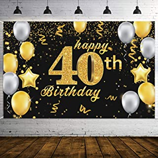 DegGod Happy 40th Birthday Backdrop Banner, Extra Large Black and Gold Birthday Sign Poster Photo Booth Props for Men Wome...