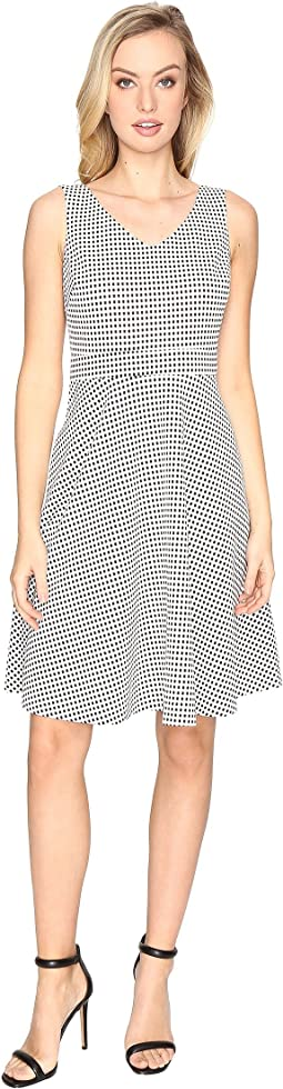 Check Jacquard Sleeveless Fit & Flare Dress