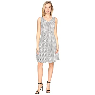 CATHERINE Catherine Malandrino Check Jacquard Sleeveless Fit Flare Dress (Black/White) Women