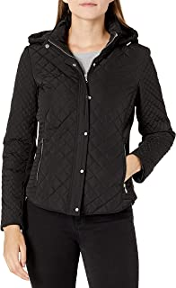 Calvin Klein womens Quilted Jacket With Removable Hood