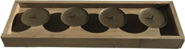 WHW Whole House Worlds Tribeca Plank Tray, Votive Candle Holder, for Mantles and Centerpieces, 4 Spiked Candle Platforms, Han