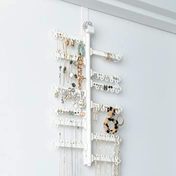 """All Hung Up ~ 12-Tier 17"""" ~ Over the Door OR Wall-Mounted ~ Large Capacity ~ Long Necklaces, Earrings (120 holes) Rings, Bracelets ~ Hanging Jewelry Organizer Storage Holder - White"""