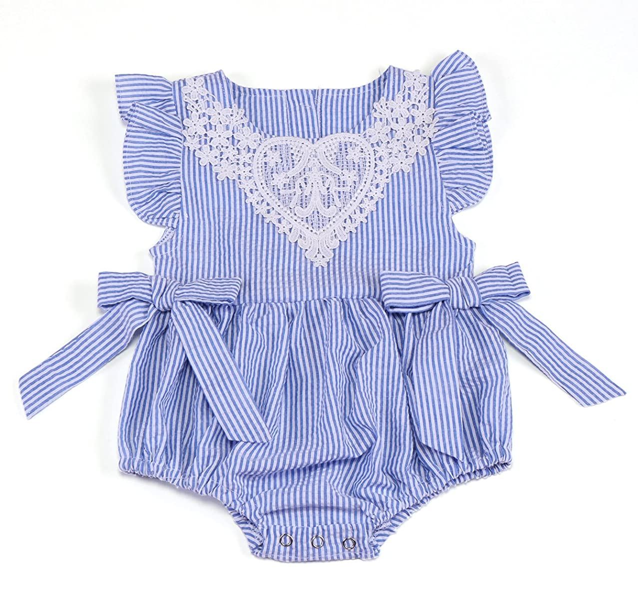 AILOM Newborn Baby Girl Short Sleeve Striped Seersucker Bubble Straps Ruffle Layers Bowknot Summer Romper Bodysuit