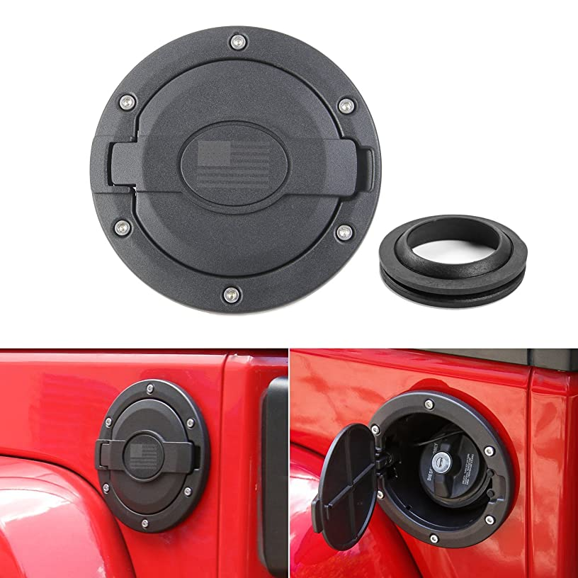 Gas Tank Cap Cover Fuel Tank Cover for 4-Door 2-Door for 2007-2017 Jeep Wrangler JK & Unlimited -(Black&Flag LOGO)