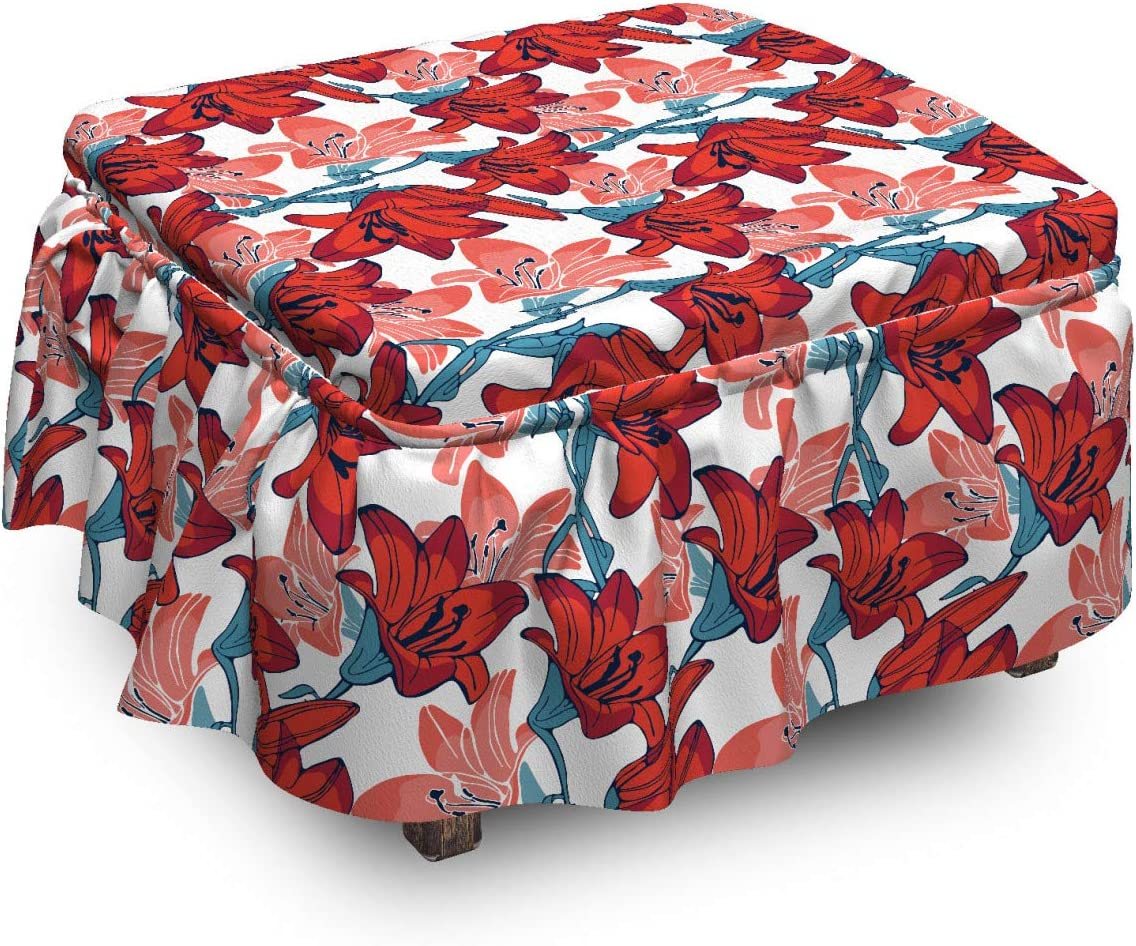 Lunarable Max 42% OFF Floral Special price for a limited time Ottoman Cover Blossoming 2 Flowers Piec Lilly