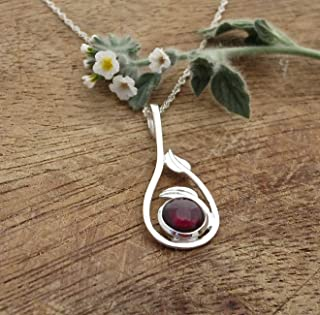 Garnet Necklace, Sterling Silver Leaf Pendant with Red Stone for Women, Unique handmade Bohemian Jewelry