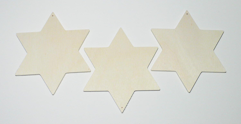 Holz Natur 6-Einheiten Glorex Holzstern 14,4 x 8,5 x 2,4 cm
