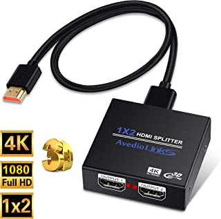 HDMI Splitter 1 in 2 Out, NEWCARE 1x2 Hdmi Splitter Supports Full HD 4K @ 30HZ & 3840×2160P & 3D for Xbox PS4/ 3 Roku Blu-Ray Player Fire TV (Included High Speed HDMI Cable) (Black)