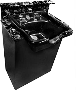 Cultured Granite Countertop Floor Cabinet With Black ABS Plastic Shampoo Bowl For Beauty Salon- eMarkbeauty