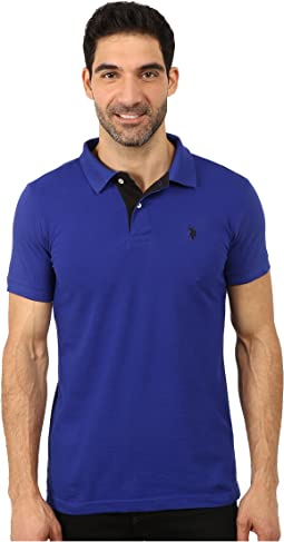 Slim Fit Solid Pique Polo with Contrast Color Striped Under-Collar