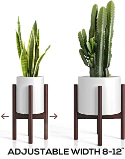 Mid Century Plant Stand - Adjustable Modern Indoor Plant Holder - Brown Planter Fits Medium & Large Pots Sizes 8 9 10 11 12 inches (Not Included) (Adjustable Width: 8-12
