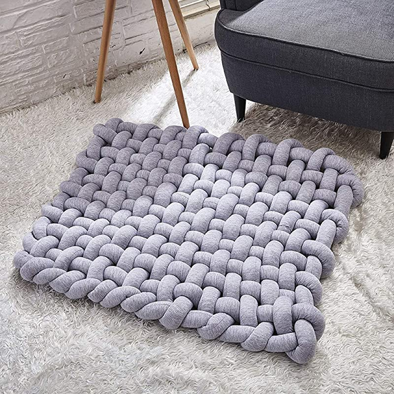 Kids Handmade Knotted Braided Area Rug Baby Play Mat Soft Cushion Anti Slip Crawl Woven Carpet Washable Mat