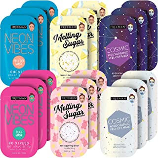 Freeman Facial Mask Variety Pack: Oil Absorbing Clay and Peel Off Pore Minimizer Beauty Face Masks, 18 Count