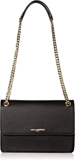Karl Lagerfeld Paris Adjustable Flap Shoulder Bag, BLK/Gold