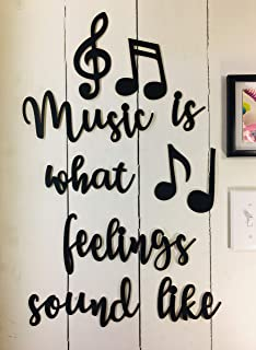 Music is What Feelings Wall Quotes Sayings for Family Home College Dorm NOT Vinyl Decal or Peel Stick Removable Using Plasti-tak Paintable Reusable Wall Décor Great Teacher Gift